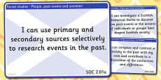 CfE Social Studies Experiences and Outcomes for Display (Second)