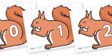 Numbers 0-50 on Red Squirrels