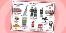 Fire Brigade Word Mat Arabic Translation