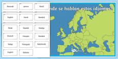Actividad de emparejar el pais con su idioma - El día europeo de las lenguas
