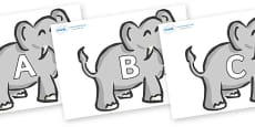 A-Z Alphabet on Elephants