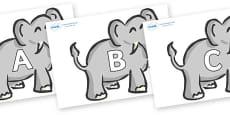 A-Z Alphabet on Elephants