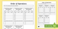 Order of Operations BODMAS BIDMAS Activity Sheet