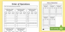 Order of Operations BODMAS BIDMAS Activity Sheet