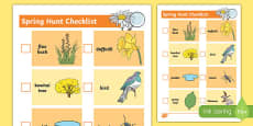 New Zealand Spring Treasure Hunt Checklist
