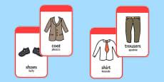 Clothing Flashcards Polish Translation