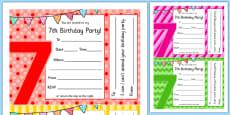 7th Birthday Party Invitations
