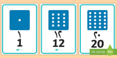 Numbers 0 to 20 on Dice Display Numbers Arabic/English