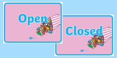 Sweet Shop Role Play Open and Closed Signs