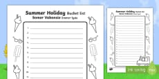 Summer Holiday Bucket List English/Afrikaans