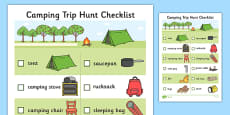 Camping Trip Hunt Checklist