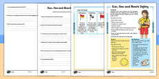 Sun, Sea and Beach Safety Differentiated Reading Comprehension Activity