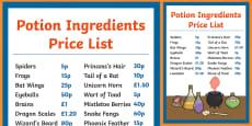 Magic Potion Ingredients Price List