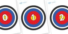 Numbers 0-50 on Plain Targets