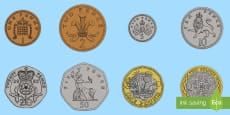 A4 British (UK) Coin Cut-Outs