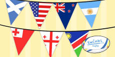 Rugby World Cup 2015 Flag Bunting 20 Countries