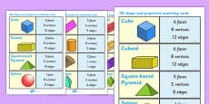 3D Shape and Properties Matching Cards