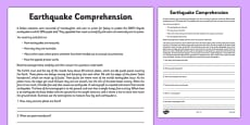 Earthquake Reading Comprehension Activity