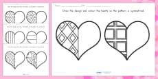 Australia - Valentine's Day Heart Symmetry Sheets