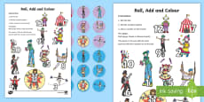 Circus Roll, Count And Place A Counter Activity Sheet