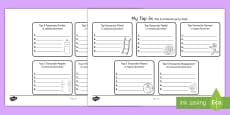 * NEW * Top 5s Ranking Favourites Activity Sheet English/Spanish