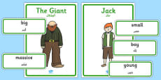 Jack and the Beanstalk Character Describing Words Matching Activity Arabic Translation