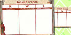 Ancient Greece Topic KWL Grid