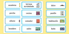 Parts of a House Word Cards Spanish