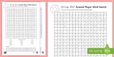 FA Cup Arsenal Team Word Search Activity Sheet