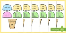 Place Value Ice Cream Cone Matching Activity Tens and Ones