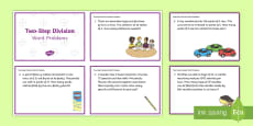 KS2 Two-Step Division Word Problems Maths Challenge Cards