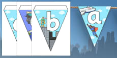 Superheroes Themed Alphabet Bunting