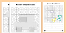 Number Shape Pictures Activity Sheets