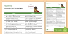 French Adjectives Match-Up Activity Sheet