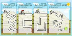 Tour de France Themed Pencil Control Path Activity Sheets