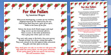 Remembrance Day Poem For The Fallen Poster (A3)