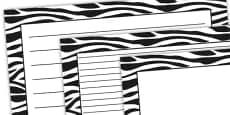 Zebra Pattern Landscape Page Border