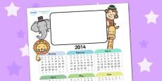 2014 Animal Themed Editable Calendar