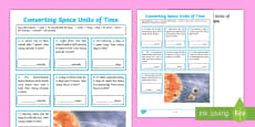 Converting Units of Space Time Activity Sheet