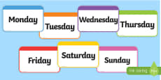 Days of the Week Flashcards