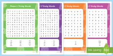 Tricky Words Phase 2 to 5 Word Search Activity Pack