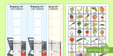 Shopping Lists and Food Cards English/Polish