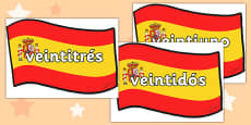 Spanish Numbers 21-31 Posters