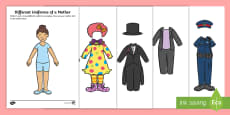 Different Uniforms of a Mother Paper Doll Activity