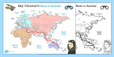 Amy Johnson Route to Australia Map