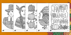 Adult Colouring Mindfulness Thanksgiving Themed Sheets