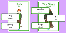 Jack and the Beanstalk Character Describing Words Matching Activity Polish Translation