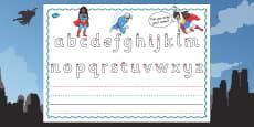 Superhero Themed Name Writing Activity Sheet
