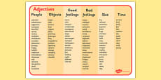 Adjective Word Mat