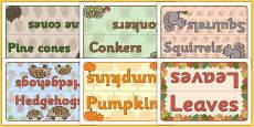Editable Group Table Signs (Autumn)